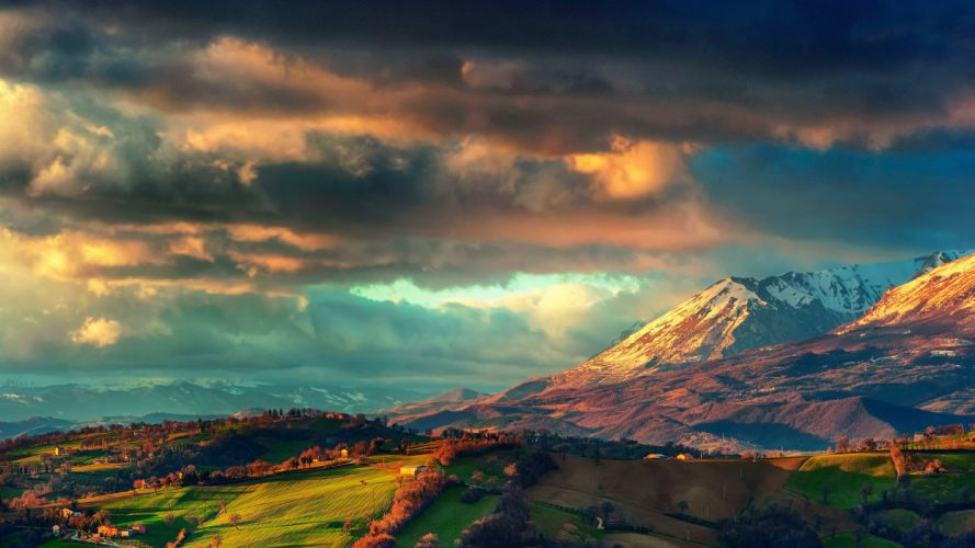 Italy the Apennines the mountain ridge Sibillini Mountains Spring in March sky valley field house wallpaper