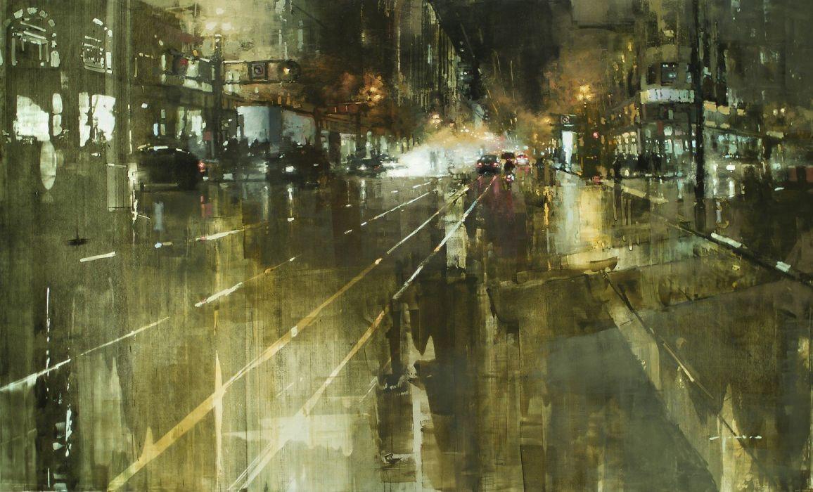 Jeremy Mann artwork streete vening modern impressionism wallpaper