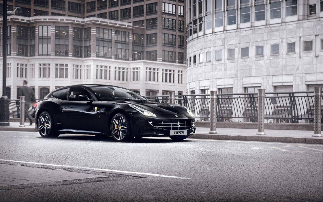 vehicle car Ferrari Ferrari FF architecture building street sports car black cars Tom Kurek wallpaper