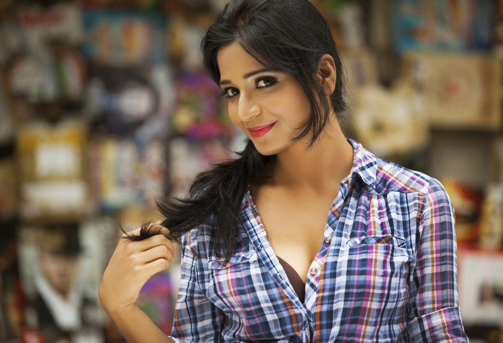 Richaaa Sharma bollywood actress model girl beautiful brunette pretty cute beauty sexy hot pose face eyes hair lips smile figure indian  wallpaper