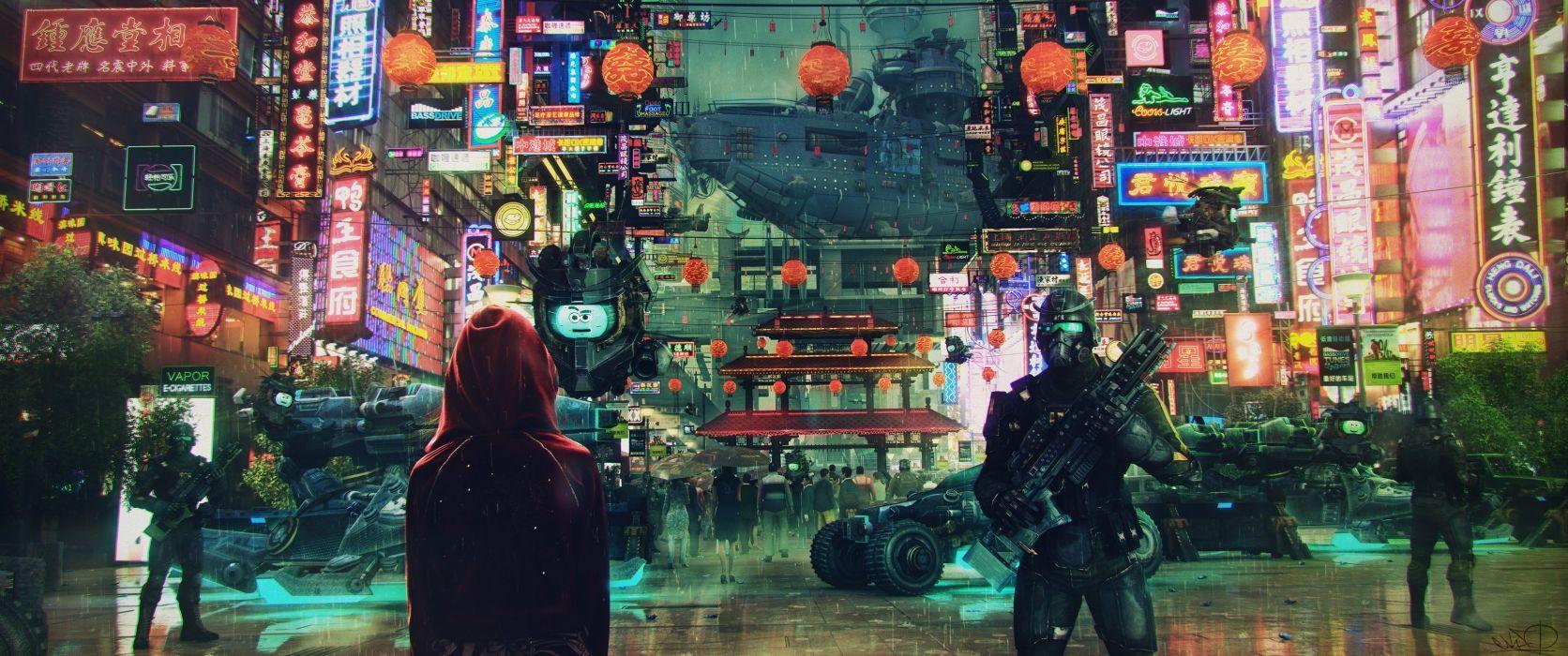 Science fiction cyberpunk cityscape