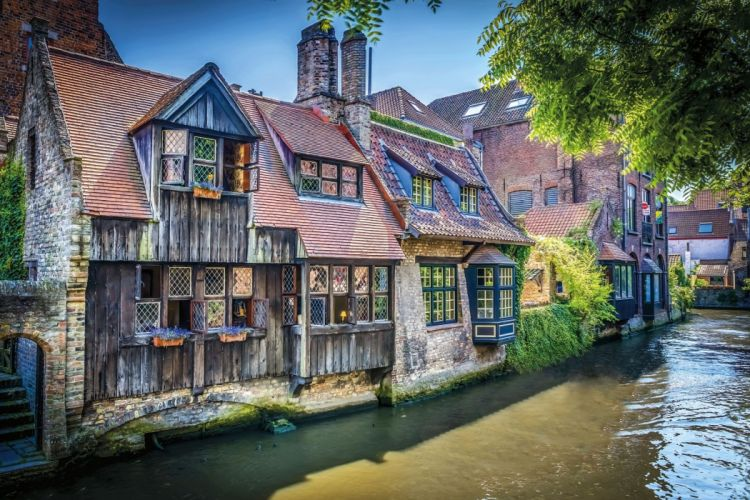 architecture building Bruges Belgium town old building house tower ancient waterwood planks sunlight leaves bricks wallpaper