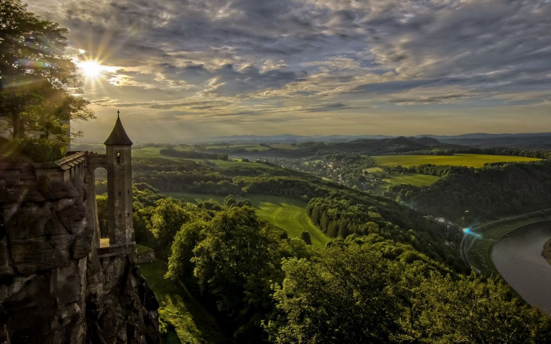 architecture castle ancient tower river Switzerland nature landscape sun rays clouds trees hills forest lens flare wallpaper
