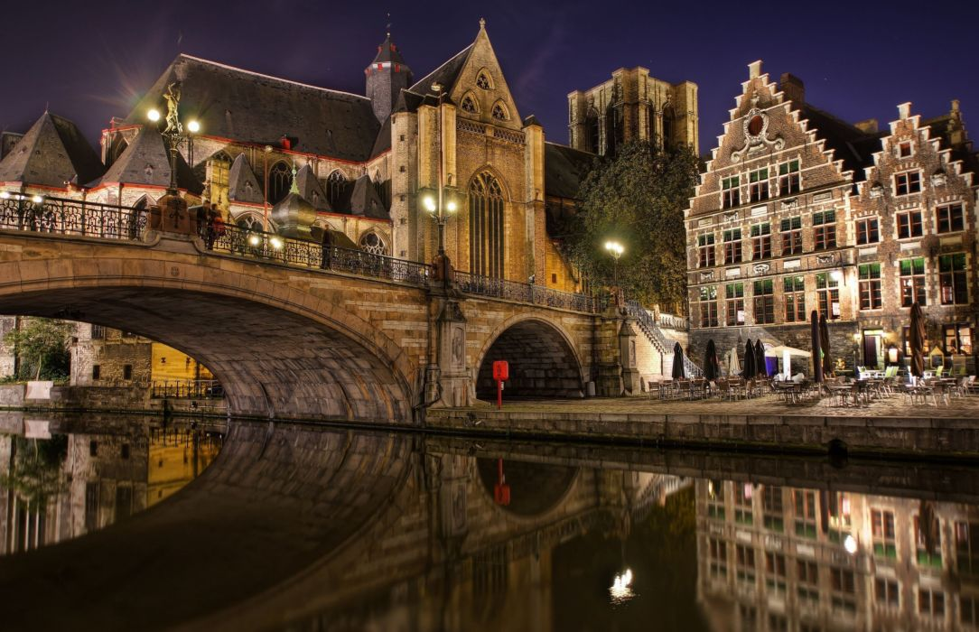 architecture building Belgium town old building house tower ancient water bridge night wallpaper