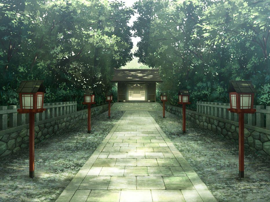 trees temple shrine landscape anime wallpaper