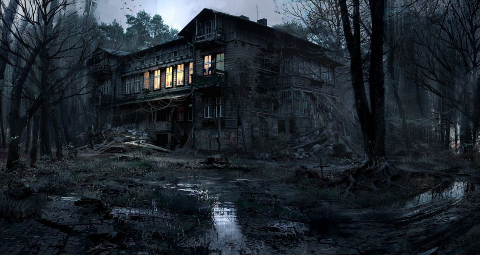 house lights nature trees forest night creepy dark photography Photoshop wallpaper