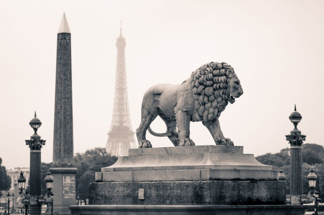 architecture city cityscape building Paris France capital statue sculpture lion Eiffel Tower trees monochrome depth of field street light wallpaper