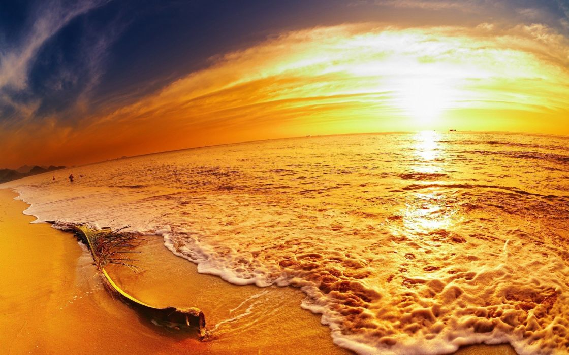 nature beach sunset sea waves wallpaper