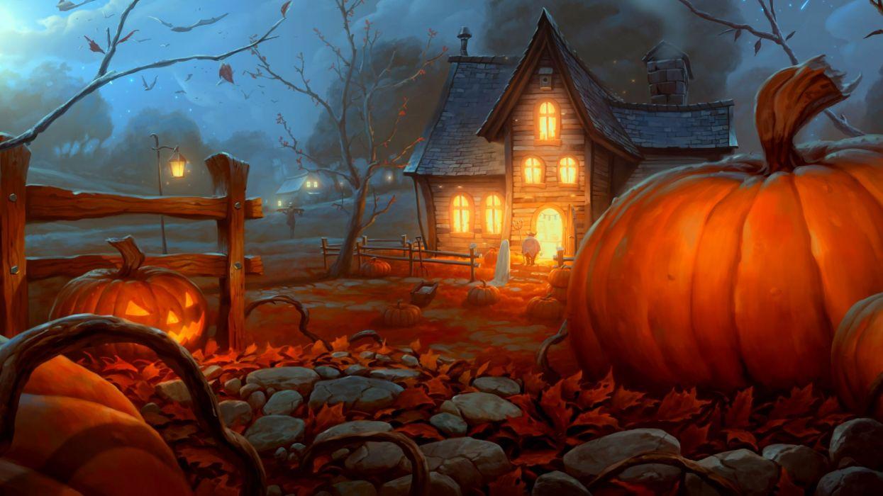 halloween calabazas casa encantada wallpaper
