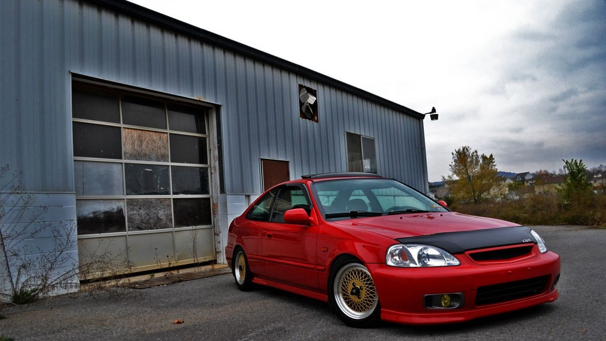 autumn red Honda cars gold Civic JDM Japanese domestic market authentic auto 1920x1080 wallpaper