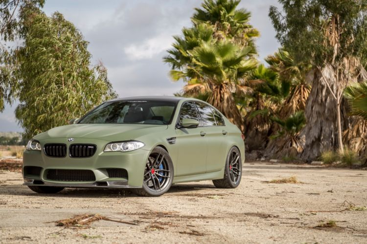 Military Green BMW (M5) f10 Vorsteiner Aero Wheels cars modified wallpaper