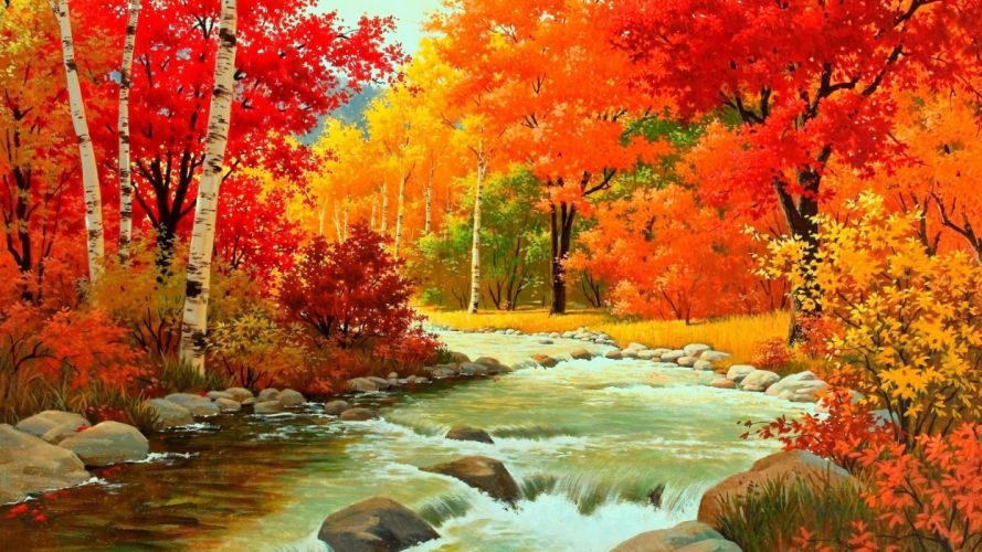 painting nature autumn river forest and mountains wallpaper
