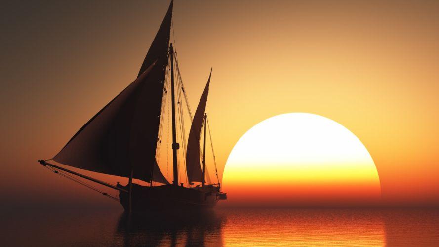 ship macro photoshop art work sailboat sunset beautiful 3d theme wallpaper