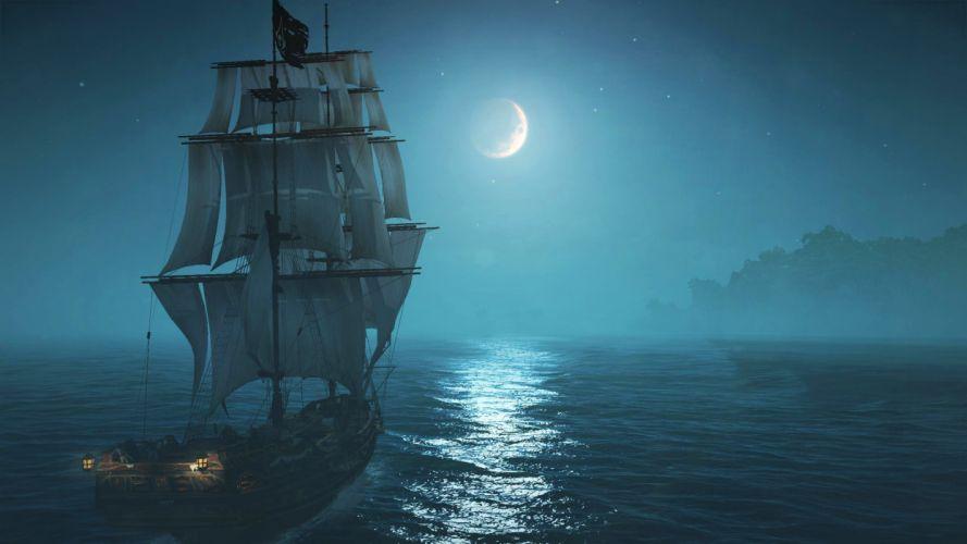 ship night moon sailing theme fantasy art work star island ocean beautiful wallpaper