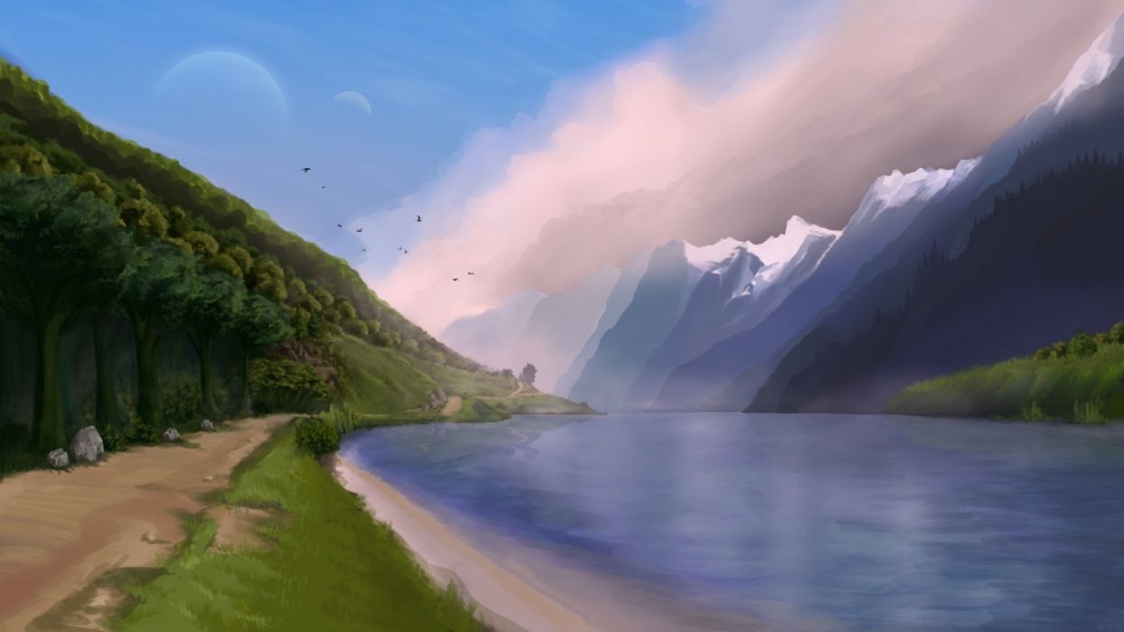 painting art nature mountain forest river road birds the sky  wallpaper