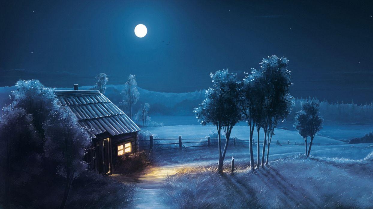 art work painting nature night house moon wallpaper