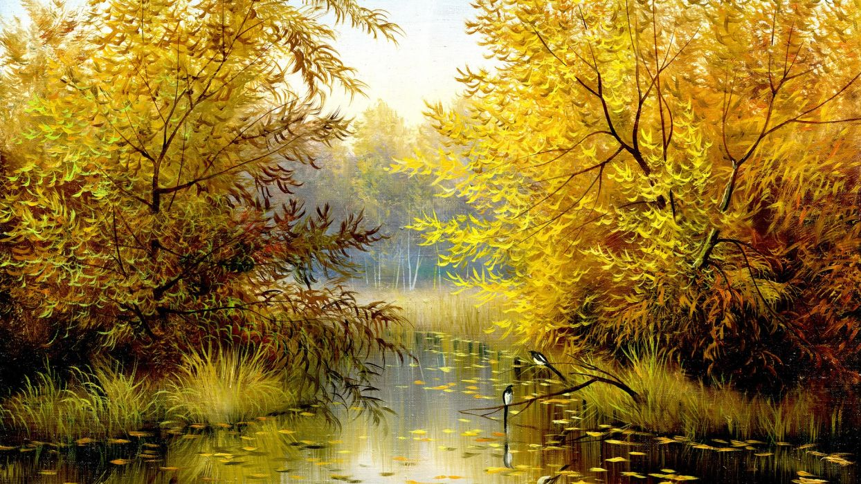 picture painting nature river trees autumn birds yellow background wallpaper