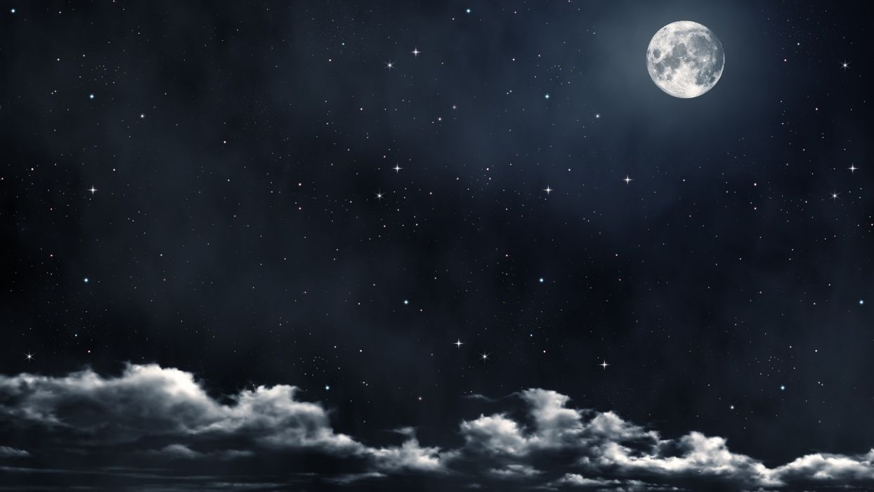 sky night stars clouds moon beautiful dark background wallpaper