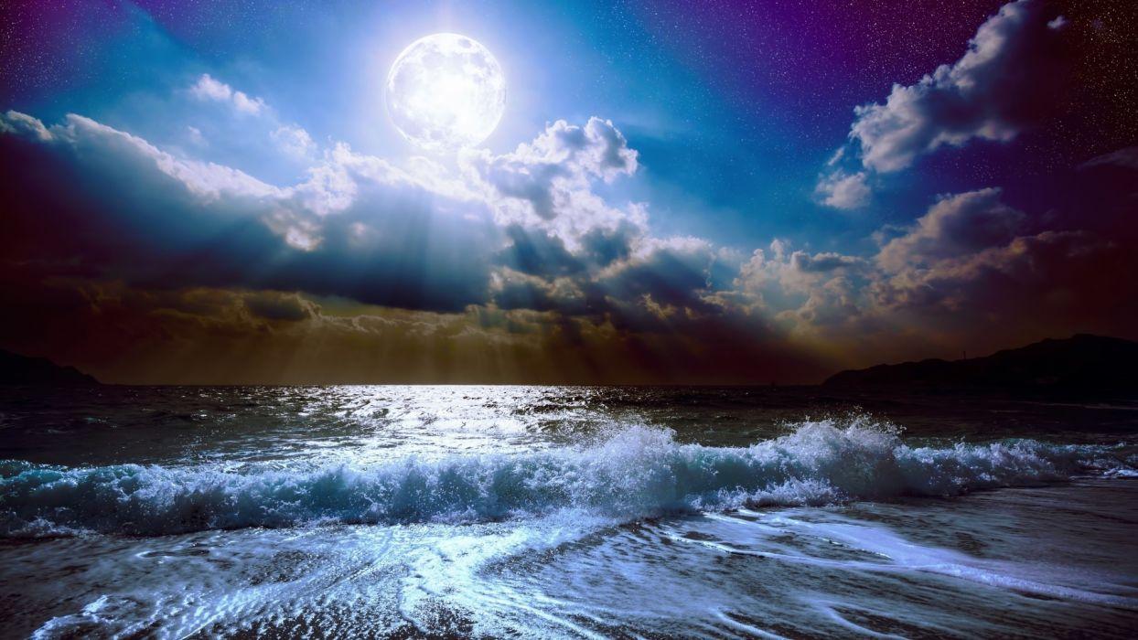 beach moon night clouds stars beautiful sky ocean waves light mountain bay  wallpaper
