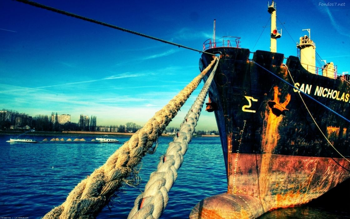 barco anclado cuerdas wallpaper