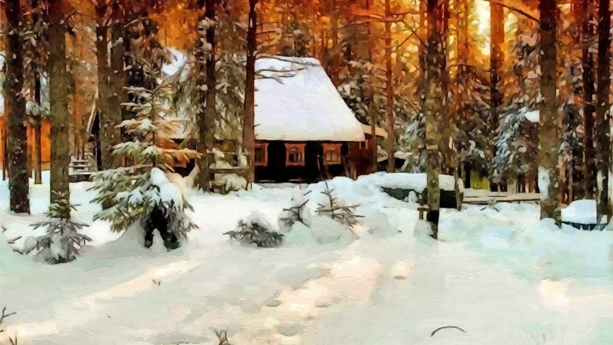 picture painting wood house winter beautiful  wallpaper
