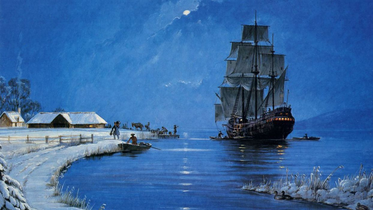 nature picture painting boat sailboat night winter beautiful  wallpaper