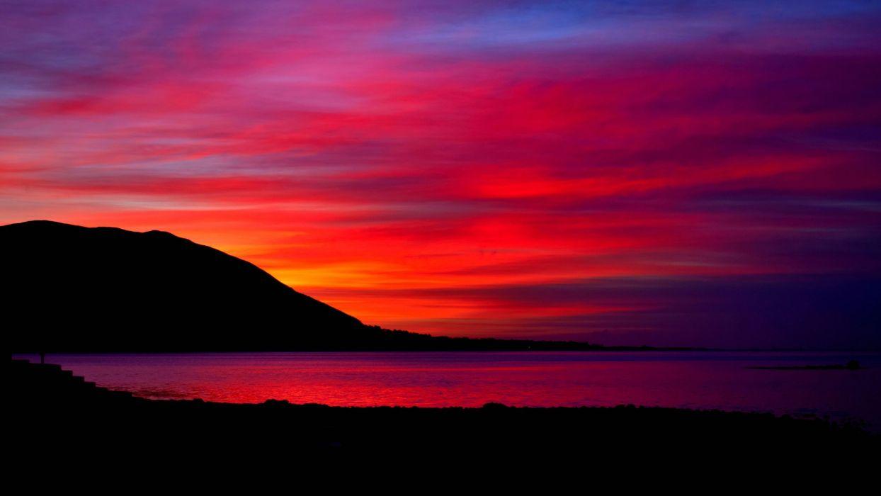sky clouds glow evening mountains lake  wallpaper