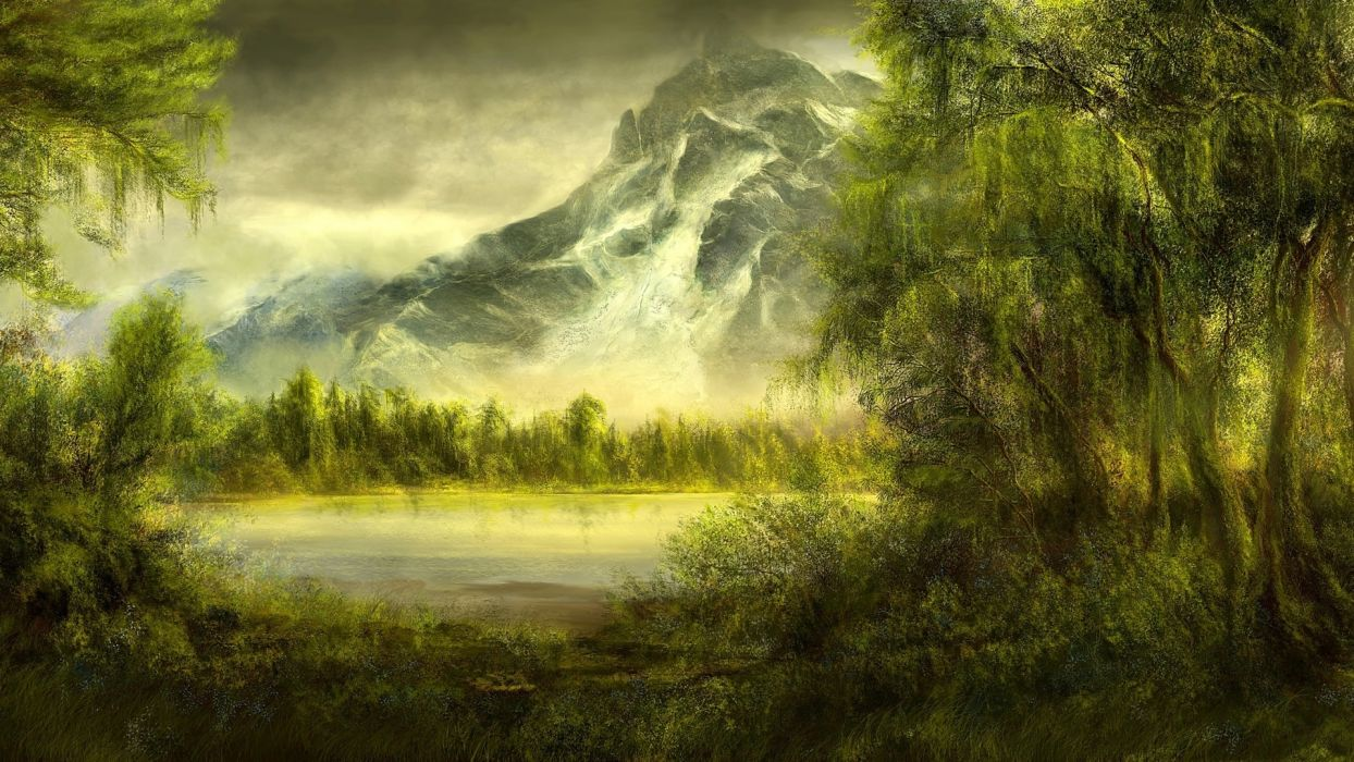 picture mountains landscape trees forest moss lake  wallpaper