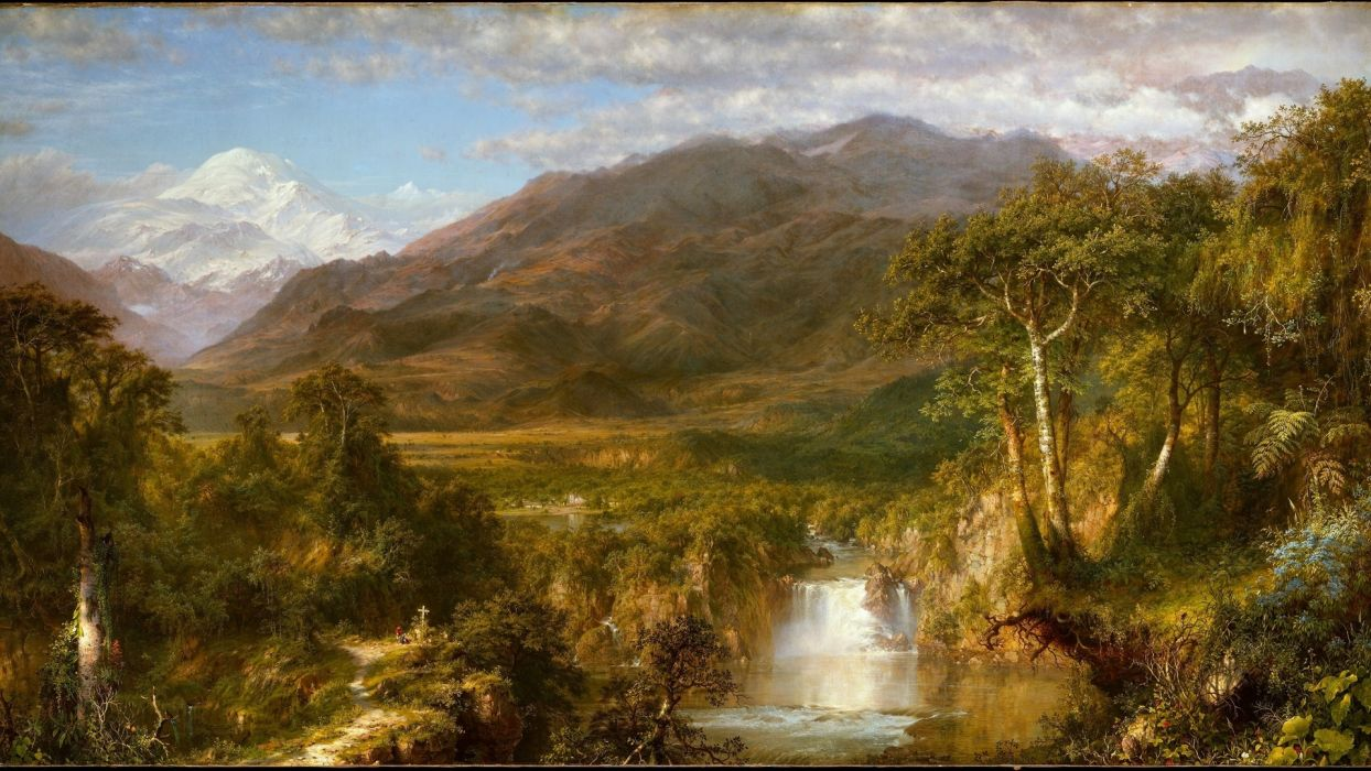 painting nature mountains river waterfall forest sky people cross the village the flowers  wallpaper