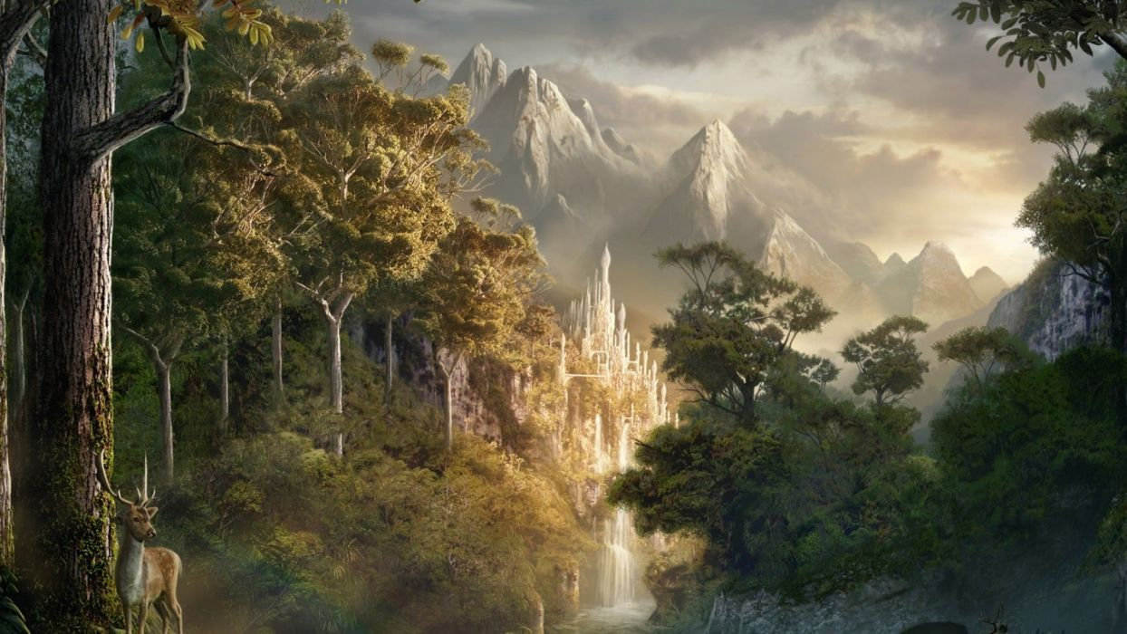 nature mountains castle deer trees clouds sky river waterfall fog stones  wallpaper