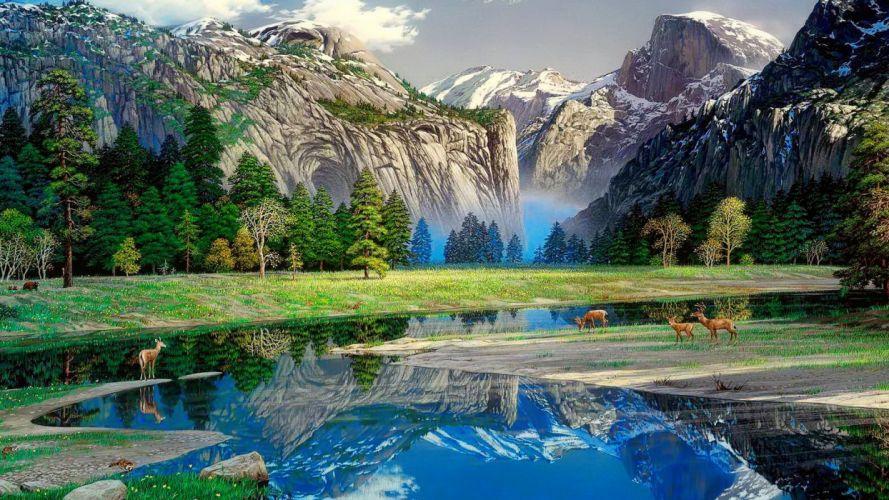 nature painting art landscape mountains deer river reflection wallpaper