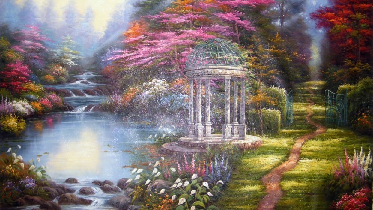 thomas kinkade picture painting spring stream river flowers paths a gazebo a forest trees wallpaper