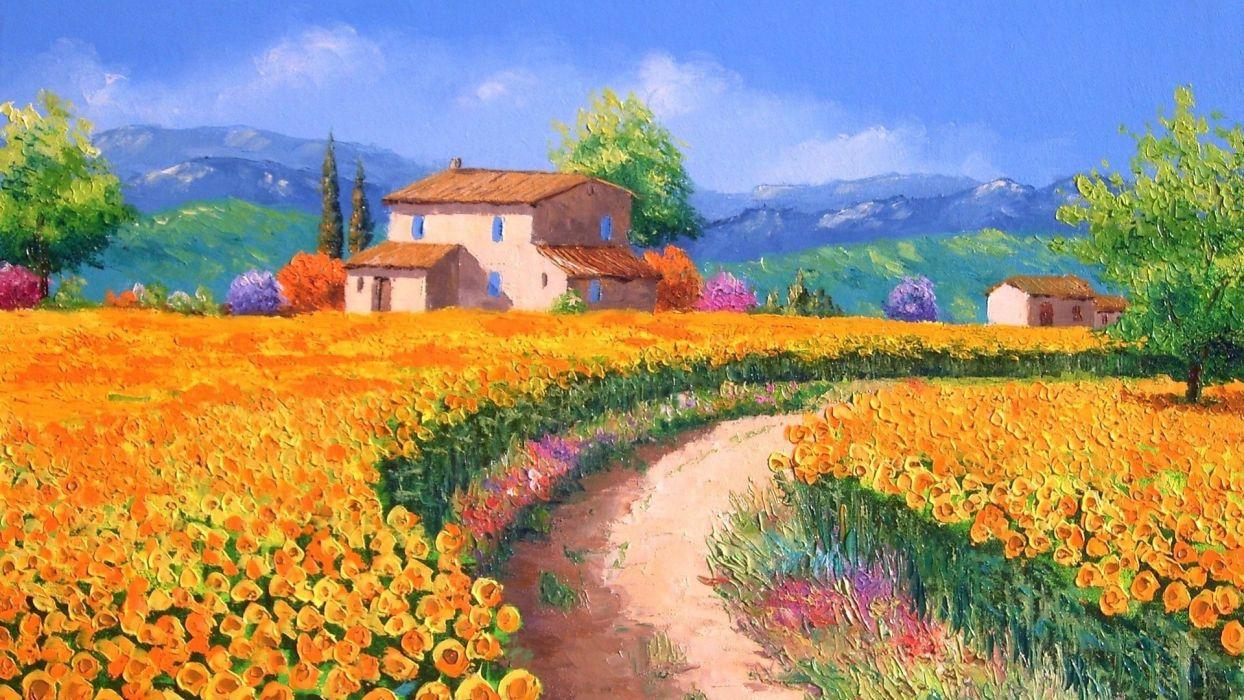 art Jean-Marc zhanyachik landscape with sunflowers painting  wallpaper