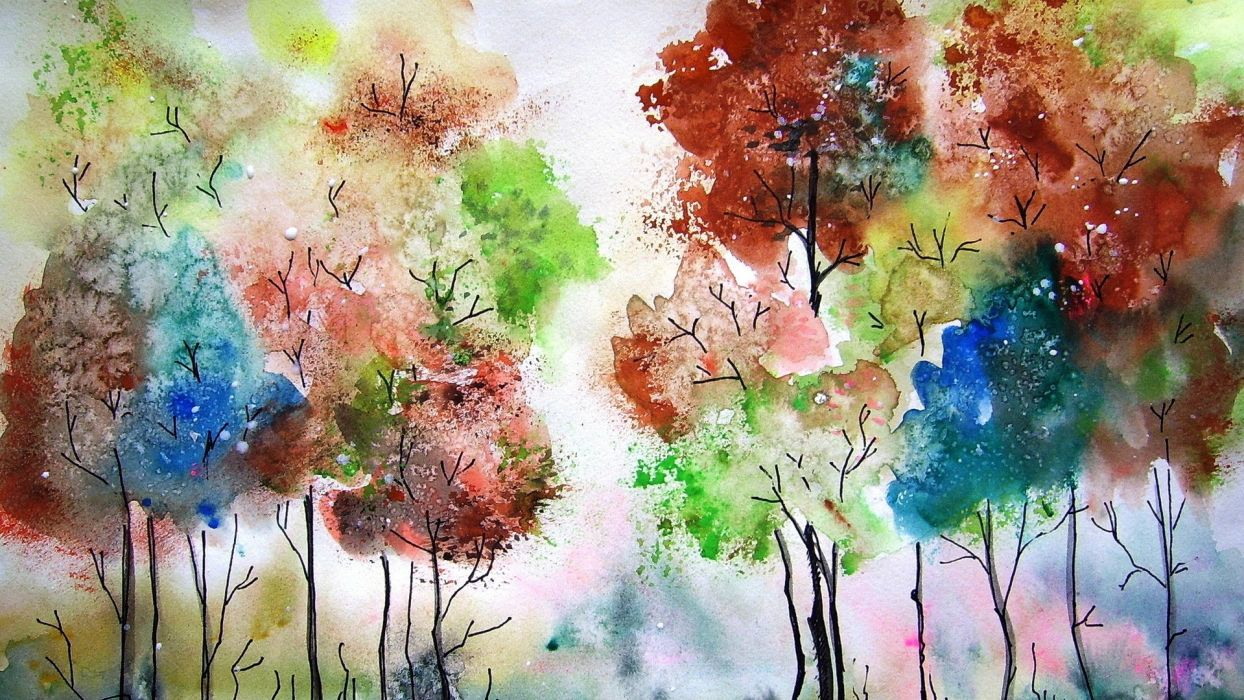 picture painting watercolor trees colors  wallpaper