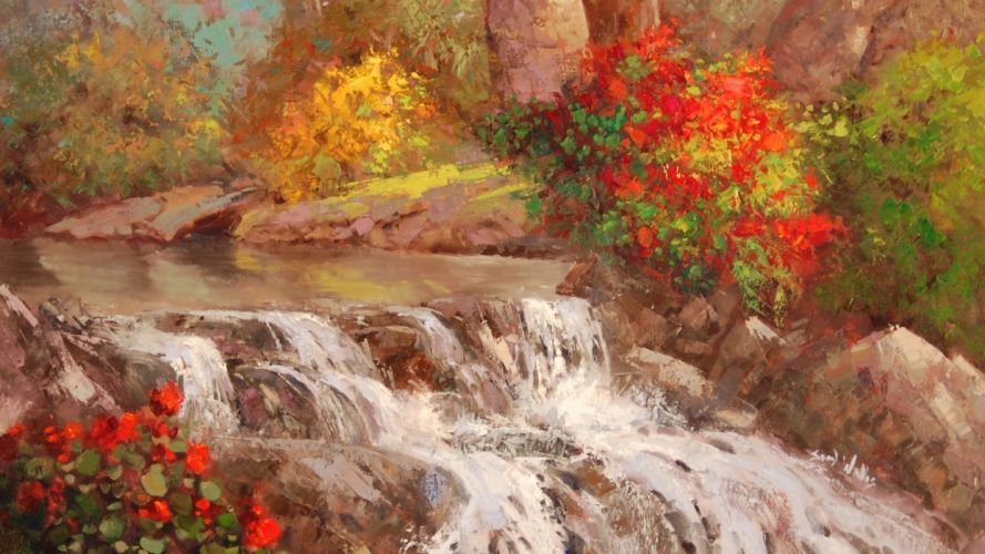 picture painting nature forest stream flowers river trees wallpaper