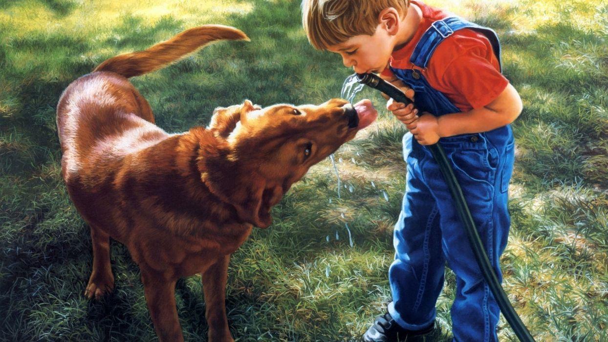 boy painting dog friend picture positive wallpaper