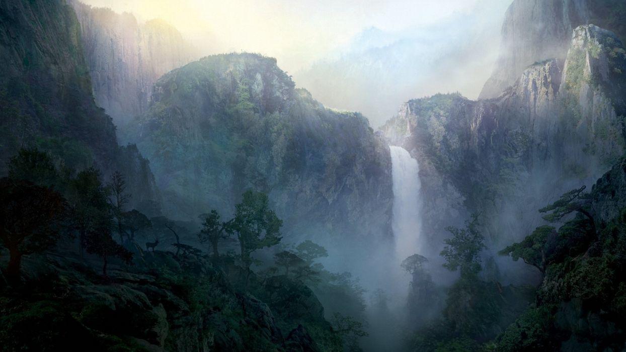 art painting mountains waterfall beautiful dark background wallpaper