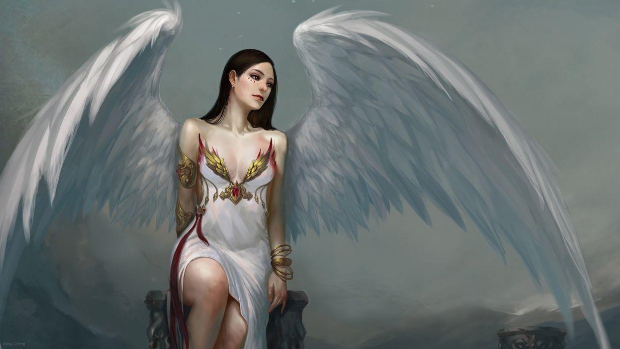 angel painting fetezi angel pro job gray background  wallpaper