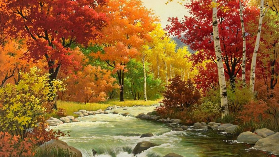 autumn painting river forest beautiful mountains wallpaper