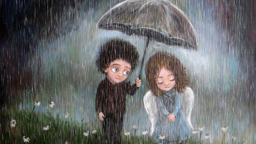 picture positive art angel rain love wallpaper