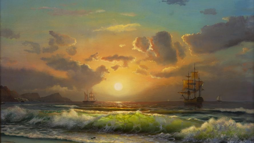 picture painting sea ships sailing sky sunset beach wave beautiful sun mountains wallpaper