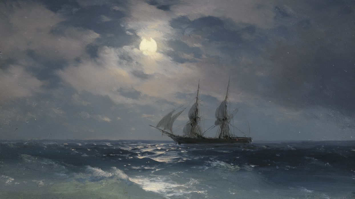 picture painting Aivazovsky sailboat night sea beautiful  wallpaper