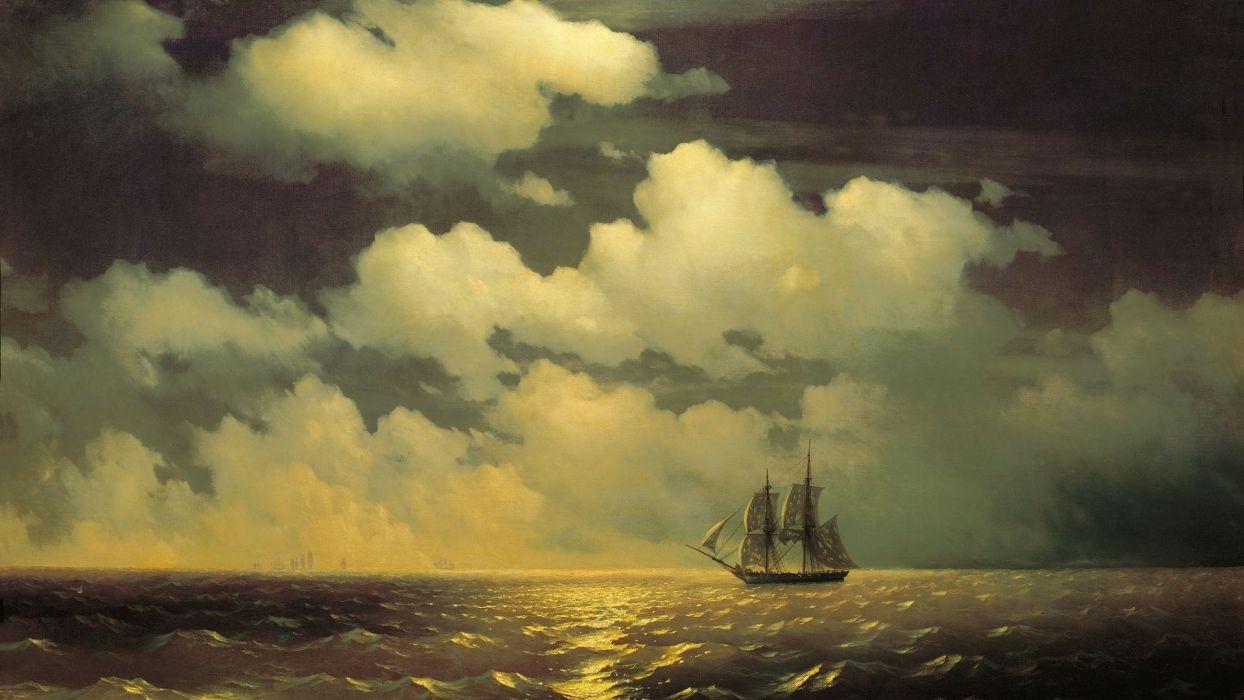 painting Aivazovsky mercury sailboat nature sea night sky clouds light moon wallpaper
