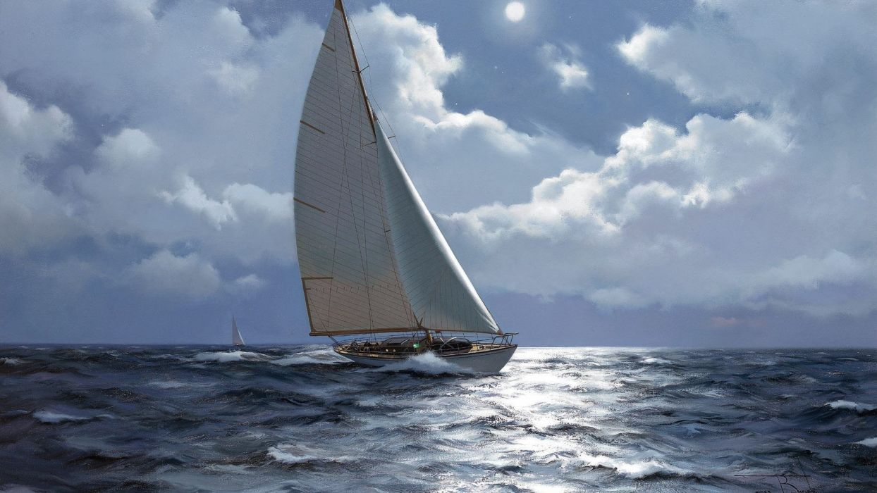 ship sailboat picture painting sea beautiful sky moon art painting wallpaper