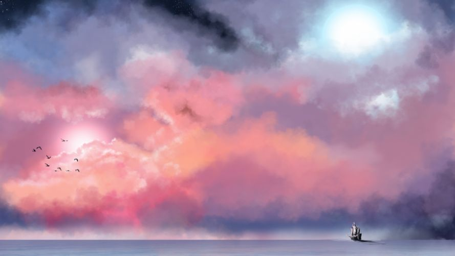 picture painting sea sailboat sky clouds stars birds moon beautiful wallpaper