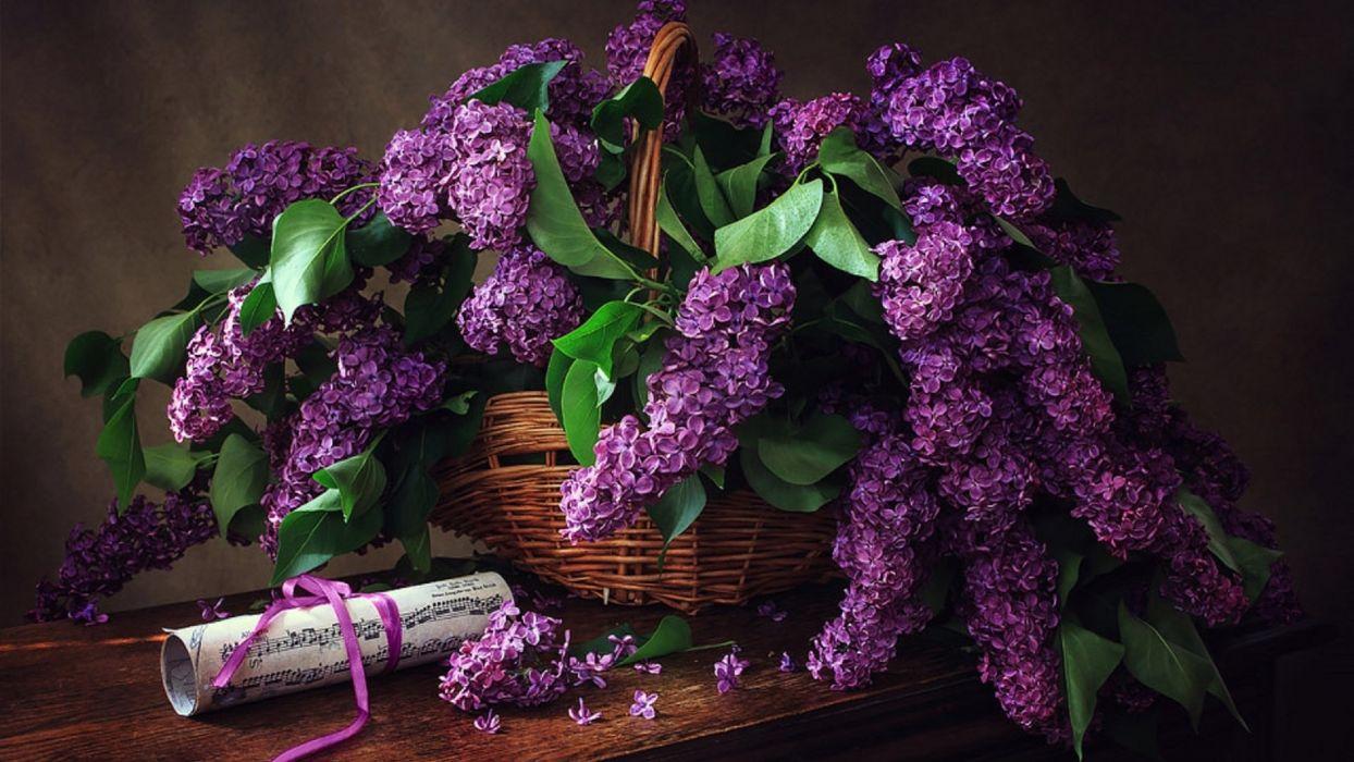 still life lilacs basket note by Irina Prikhodko  wallpaper