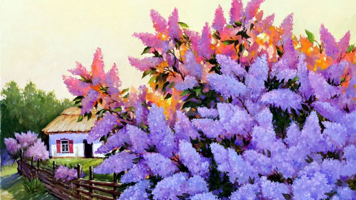 lilac picture painting house art wallpaper
