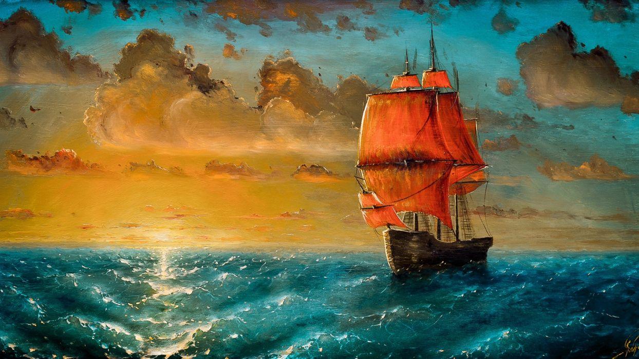 art painting craft painting sailboat  wallpaper