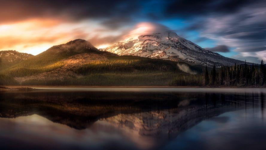 mountain lake clouds trees oregon wallpaper