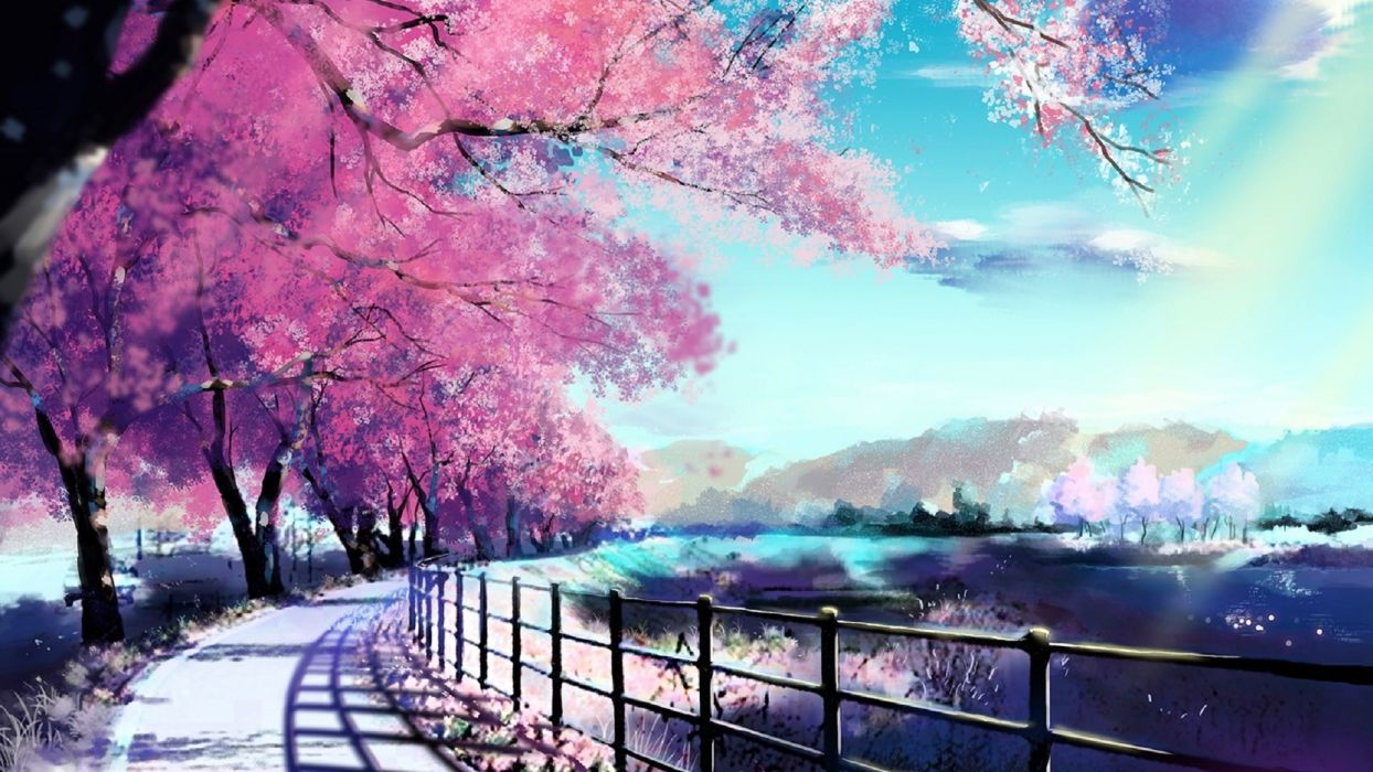 cherry blossoms road sky spring painting  wallpaper